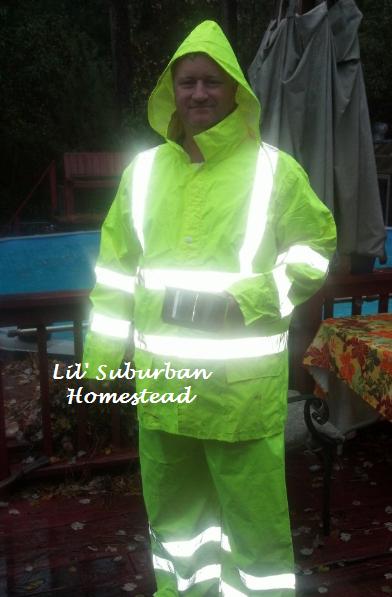 rain suit, reflective